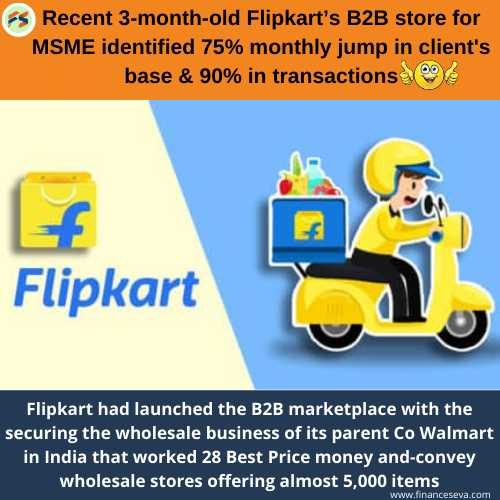 Recent 3-month-old Flipkart's B2B store for MSME identified 75% monthly jump in client's base & 90% in transactions